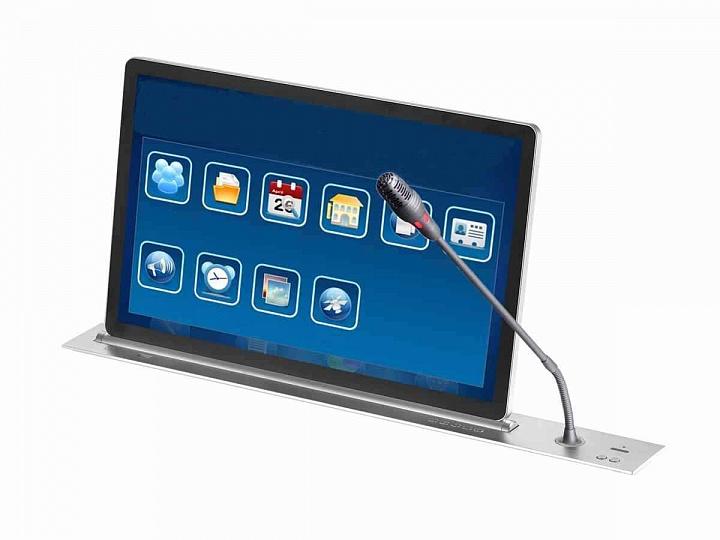 Пульт конференц-системы с выдвижными монитором и микрофоном